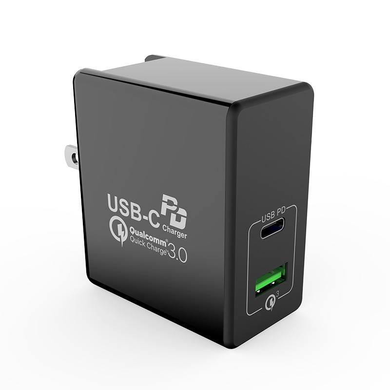 2Ports 30W USB QC3.0 Type-C PD Wall Mount AC Charger With US EU UK Plug