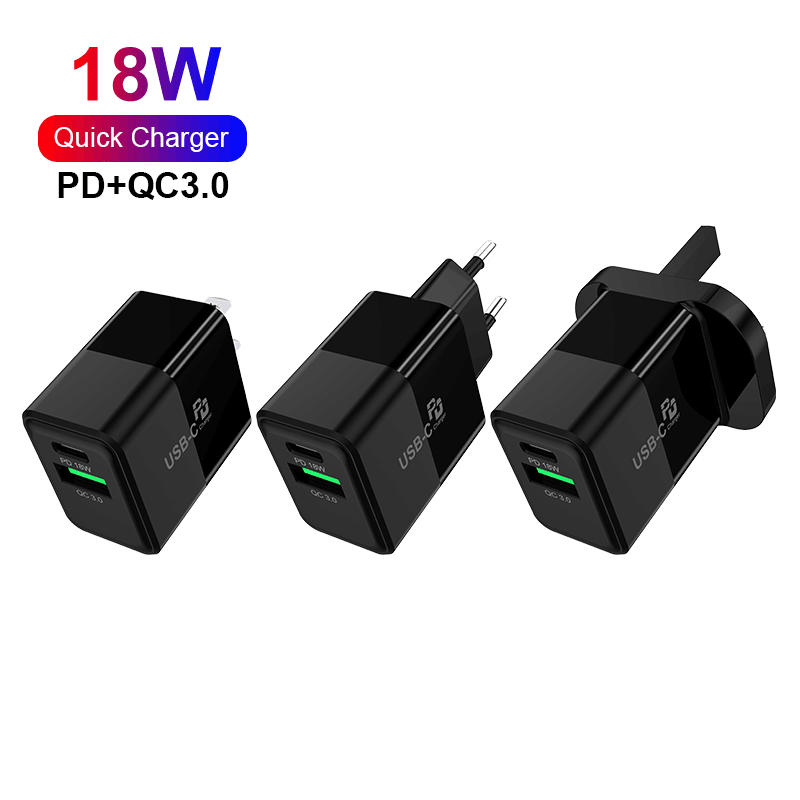 18W Dual Port Fast Charger Type-c USB-A for Mobile Phone Fast Charging