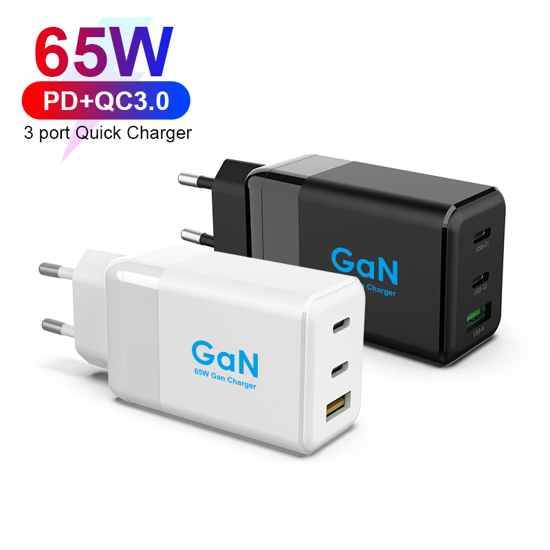 65W 3 Ports GaN Charger Mini Design Fast Charging Travel Charger