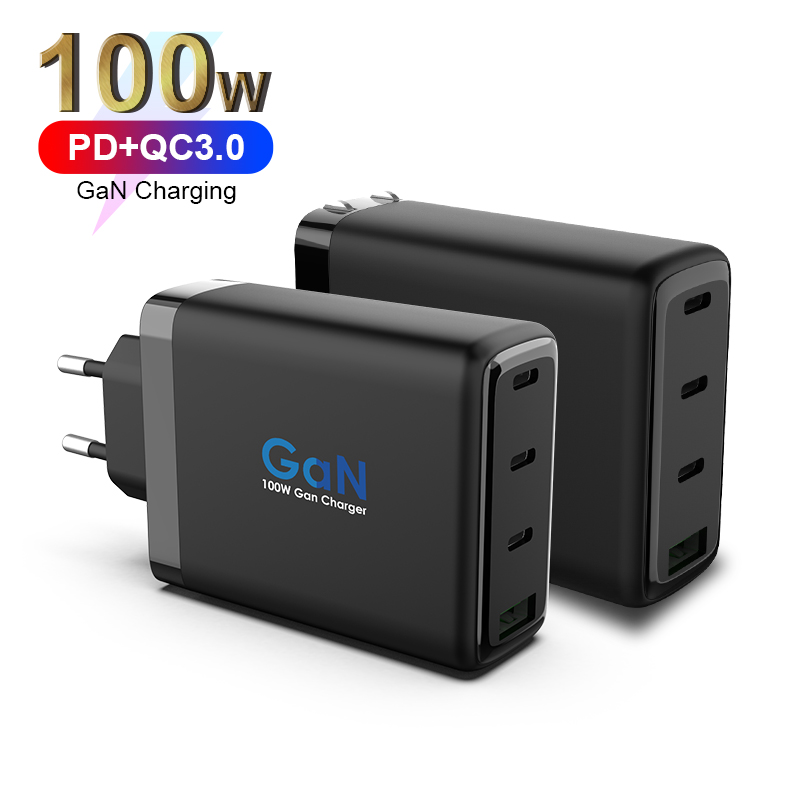 GaN 100W 4 Ports Fast Charger 3*PD3.0+1*QC3.0 Wall Charger