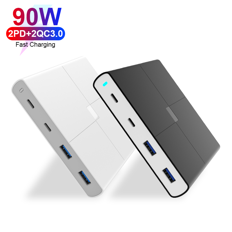 90W Multi Port Smart Charger With Dual USB-C PD+Dual QC3.0 for MacBook Pro Lapto