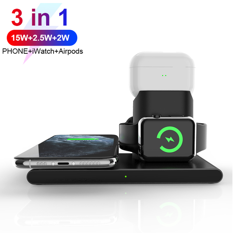 15W Fast Charging 3 In 1 Wireless Qi Charger For Cell Phone/ iWatch/Air Pods