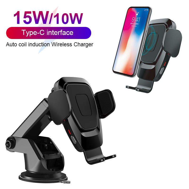 15W/10W Wireless Car Charger Auto Coil Induction Qi Wireless Charger Car Mount