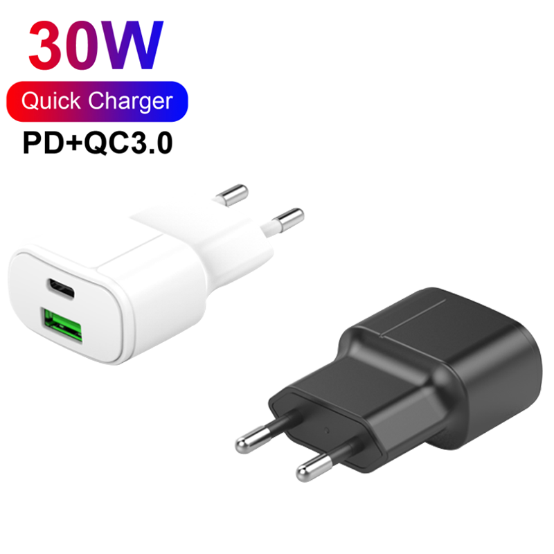 PD Charger 30W 2 Ports QC3.0+PD Type C Charger