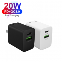 Dual Ports 20W Portable QC3.0 USB-C PD Fast Mobile Phone USB Wall Charger