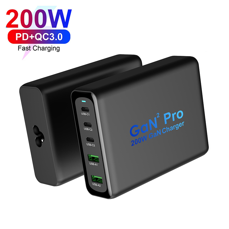 GaN 200W PD Desktop Charger, 5 Ports Fast Charger for MacBook /iPad /Mobile