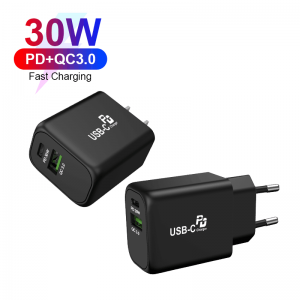 30W Wall Charger QC3.0+PD3.0 Fast Charging for Samsung Galaxy For iPhone