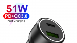 51W 2-Ports Type-C PPS 33W + QC3.0 18W PD Car Charger for Xiaomi for iPhone