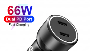 USB C PD Charger, 66W Fast Charging Dual 33W PD3.0 PPS QC4.0+ Output